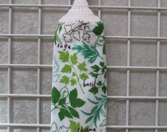 Button-On Terrycloth Velour Fresh Herbs Towel