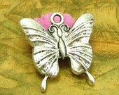 10 pcs Antique Silver Butterfly Charms 23x23mm CH2309