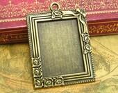 5 pcs Rectangle Settings Antique Bronze Pendant Trays Cameo Base Bezel 29x21mm CH2450