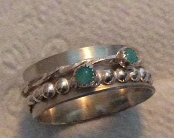 Sterling silver spinner ring with Amazonite