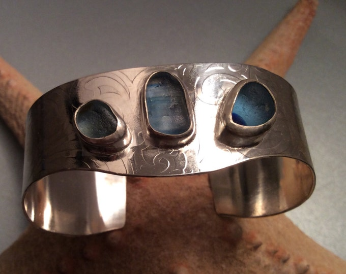 Seaglass Sterling silver cuff - English seaglass in shades of blue bezel set on Sterling cuff