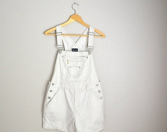 STOREWIDE 15% off SALE - Vintage 90s Ivory Tan Cotton Short Overalls Dungaree Shorts // Shortalls // womens medium