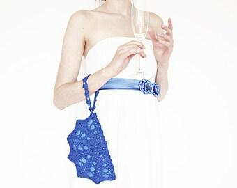 Something Blue Wedding Purse, Sapphire Blue Clutch Bag, Small Crochet Handbag, Bridesmaid Gift, Bride Gift, Bridal Clutch, Maid of Honor Bag