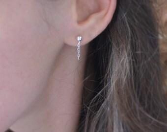 Tiny Sterling silver or Gold Filled chain earrings, silver ear jacket, double sided post earrings front back small loop earrings minimalist