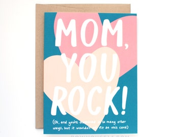 Mothers Day Card - Sweet Card for Mom - Mom You Rock