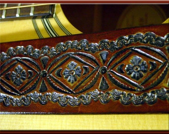 NATIVE SUN CIRCLE Design V3 • A Beautifully Hand Tooled, Hand Crafted Leather Guitar Strap