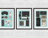 Video game poster, Video game print, Nintendo poster, Retro poster, Man cave art, geekery print, game controller, play room decor, set of 3