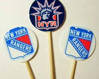 15 New York Ranger Hockey Party Picks - Cupcake Toppers - Toothpicks - Food Picks - Party Supplies FP581
