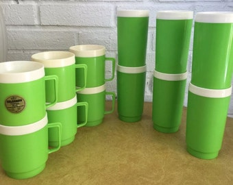 Vintage Neon Lime Green COLORAMA Thermo Mug / Tumblers (12pcs)