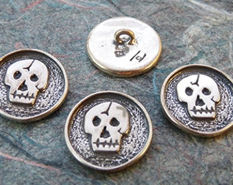 Small Sterling Silver Skull  (Calaca) Buttons