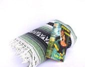 Vintage MEXICAN BOHO BLANKET/ Sage Green Boho Blanket