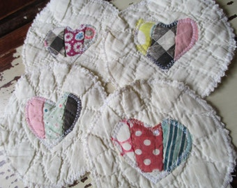 Vintage Quilted Coasters/Mug Rugs/Hearts