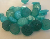 24 Teal Checkered A Shank Round Buttons Size 3/8""