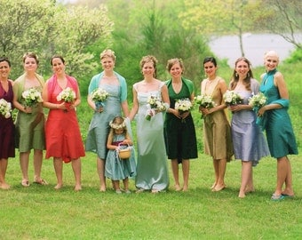 Custom Mismatched Bridesmaids Dresses-Silk Shantung, Assorted Colors and Styles