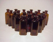 Group of Twenty c1890s 2 ounce size Amber Blown Glass Cork Top Medicine bottles No. 1