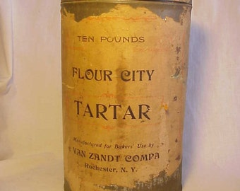 c1900-20 Ten Pounds Flour City Tarter The Van Zandt Company Rochester, N.Y., Advertising Food Tin Can