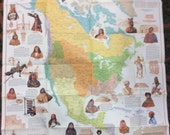 "1972 Folded Map National Geographic Indians of North America 32"" x 39"" vintage"
