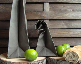 Set of 2 waterproof canvas lunch bag, reusable lunch bag, eco-friendly, waterproof homemade lunch bag