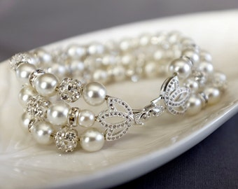 Bridal Pearl Rhinestone Bracelet Crystal Bracelet White Gold Filled Crystal Clasp Wedding Jewelry White or Ivory Pearl BL074LX