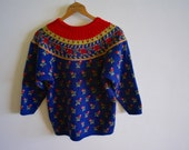 Retro Blue Fair Isle 8 Bit Knit Sweater with Red Roses - Small