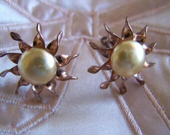 "Vintage 40's ""ROSE GOLD SUNBURST"" Screw Back Earrings Beautiful Bridal Set"