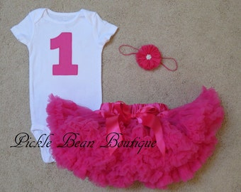 1st Birthday Girl Outfit - Hot Pink 1st Birthday Outfit - Number One Bodysuit - Baby Pettiskirt - Girls First Birthday Outfits