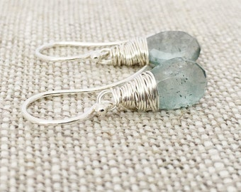Handmade Moss Aquamarine Earrings, Hand Wire Wrapped, Argentium Sterling Silver Hoops, Lever-Back Ear Wire, March Birthstone