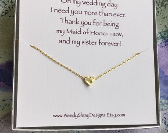 Gold heart necklace, dainty hearts, everyday jewelry, minimalist jewelry, bridesmaid, maid of honor, matron of honor, sister gift N108