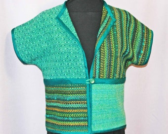 Green wool patchwork top, jacket, vest, hand woven patchwork jacket