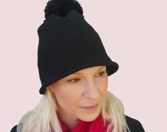 Pompom Bell Jet Black Beanie, Brimmed Bobble Hat with Large Pompom in Soft and Stretchy Wool Knit