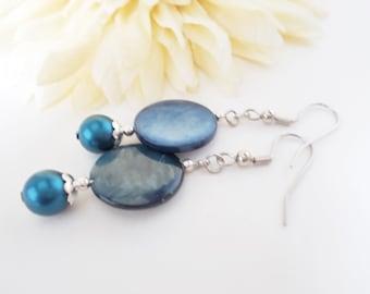 Dark Blue Earrings, Blue Mother of Pearl Earrings, Slate Blue Earrings, Navy Blue Pearl Earrings, Midnight Blue Shell Jewelry