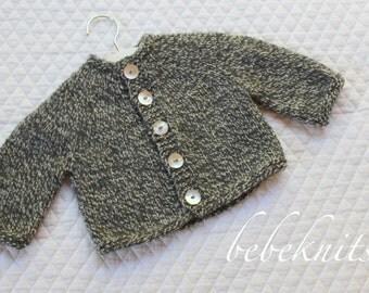 Hand Knit Soft Merino Gray Marbled Round Yoke Baby Cardigan