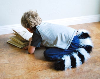 Lemur Tail - Furry Black and White Stripes - clip on cosplay tail