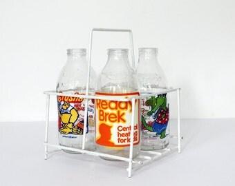 Vintage 1980's Advertising Milk Bottles - Vase/Jug - Crusha - Rocky Croc - Ready Brek