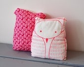 Owl pillow - Neon pink owl shaped cushion