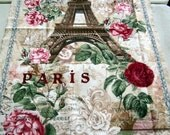 Paris Eiffel Tower and Roses 23x44 panel premium cotton fabric from Timeless Treasures Paris Rendezvous Collection - eiffel tower,pink roses