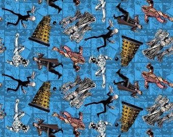 Doctor Who Character Toss Blue cotton fabric by Springs Creative - police box, dr who, bbc, time machine