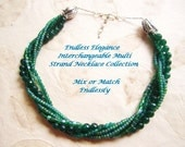 Emerald Green Interchangeable Necklace/Multi Strand/ Mix or Match/ 8mm faceted beryl stone