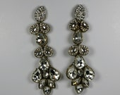 Extra Long Crystal Bridal Earrings .. Winter Wedding ... Gift For Her .. Occasion Earrings .. Luxury Earrings ..FREE shipping worldwide