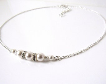 Girls Pearl and Silver Necklace, WHITE or IVORY Pearl, Flower Girl Necklace Gift, Kids Jewelry, Childrens Pearl Jewelry, Gift for Girl