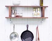 Magnolia Rustic Farmhouse Industrial Shelf with Pot Rack Utensil Holder