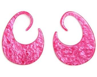 8ga (3mm) Pink MarbleThick Hoop Gauged Earrings