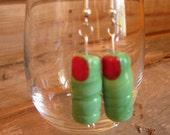 Green Monster Finger Spooky Halloween Earrings, Lamp work Glass Beads Sterling SIlver Earring Wires, Costume, Earrings, Spooky, Frankenstein