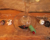 Halloween WIne Charm Set of 6, Lamp work Glass beads, Spooktacular, party, wine enthusiast, ghost, bat, tombstone, wine markers, GRAVEYARD