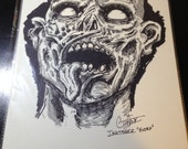 Original Ink Drawing INKtober Extra - ZOMBIE  mixed media ink / watercolor