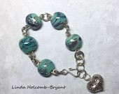 On Sale Bracelet - Reserved for Mary Ann Turquoise & Silver Lampwork Beads