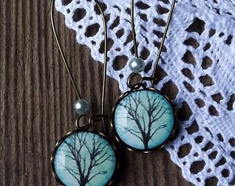 Tree Earrings, Tree of Life Earrings, Turquoise Green, Dangle Earrings, Drop Earrings, Gift For Her