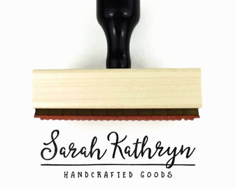 Custom Rubber Stamp - Your Business Name & Industry Stamp - Packaging Branding Stamp - Wood Mounted Rubber Stamp with Handle