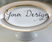 Gold or Silver Custom Wedding Cake Stand, Personalized Cake Stand, Bespoke Cupcake Stand, Monogram Tray, Tidbit Tray, Design Your Cake Stand