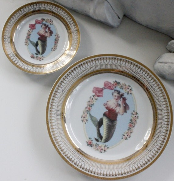 Gold or Silver Mermaid Plates / Dishes Nautical Plates Nautical Sea Dinnerware Siren & Gold or Silver Mermaid Plates / Dishes Nautical Plates Sea
